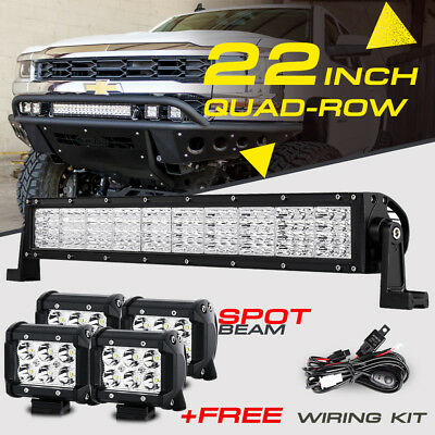 "22inch 1440W QUAD-ROW +4x 4"" 18W CREE LED Work Light Bar Offroad Truck Fog 4X4WD"