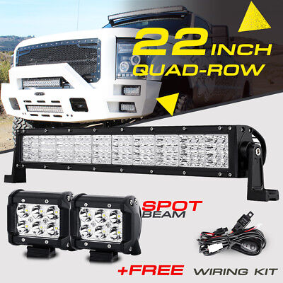 "QUAD-ROW 22"" 1440W +4"" CREE LED Work Light Bar Spot Flood Offroad Pickup UTV 24"""
