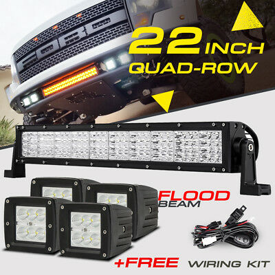 "22INCH 1440W QUAD-ROW 4X 3"" Pod CREE LED Light Bar Offroad Bumper Truck 4/20/24"""
