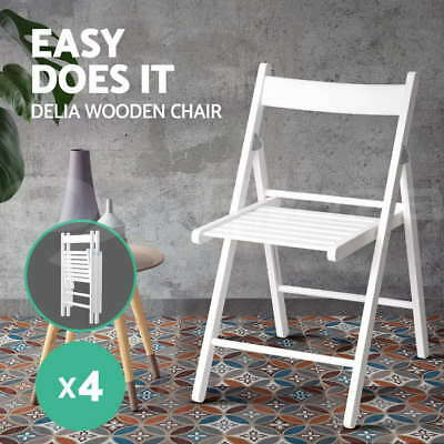 4x DELIA Wooden Dining Chairs Folding Wood Furniture Foldable Portable White