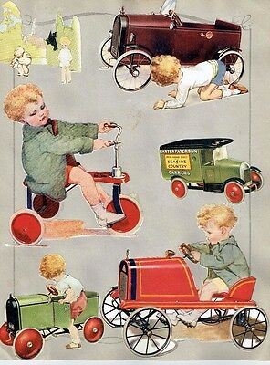 Old Scrap Album Pages Lines Bros / Triang Toy Catalogue Cuttings Pedal Cars Etc