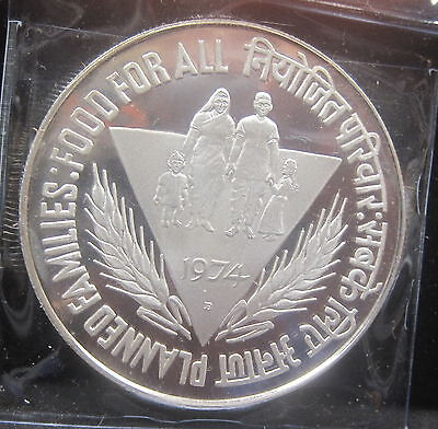 1974 India 50 Rupees Silver Proof  .5542 ASW KM255