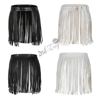 Sexy Women Punk Goth Long Tassels Fringe Belt Skirt Faux Leather Waistband New