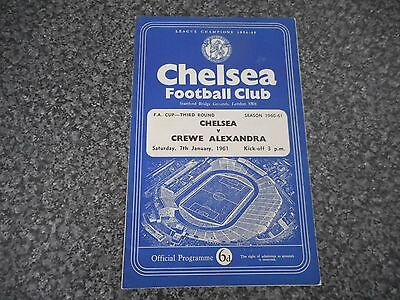 CHELSEA  v  CREWE ALEXANDRA  1960/1  F A CUP 3rd ROUND ~ JANUARY 7th* FREE POST*