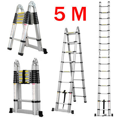 5M Multi-Purpose Aluminum Folding Telescopic Ladder A Frame Extendable Steps +