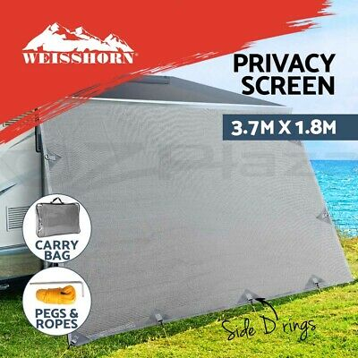 3.7m x 1.8m Caravan Roll Out Awning Privacy Screen Side Sunscreen Sun Shade Grey