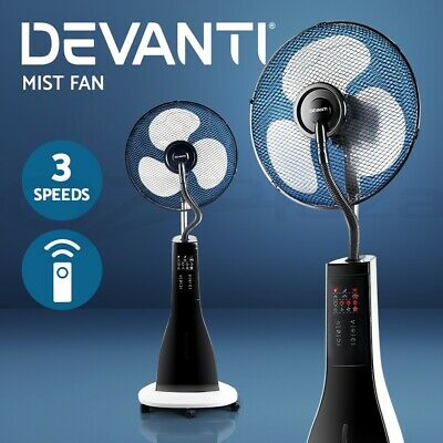 Devanti Portable Misting Fan Pedestal Remote Water Cool Mist Touch Panel 40cm WH