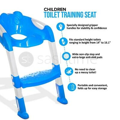Toddler Potty Loo Training Toilet Seat Step Ladder Teddie Kids Baby Child Blue