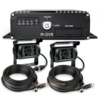 H.264 64G SD Card Vehicle DVR Recorder Cycle Recording + 2 Weatherproof Cameras
