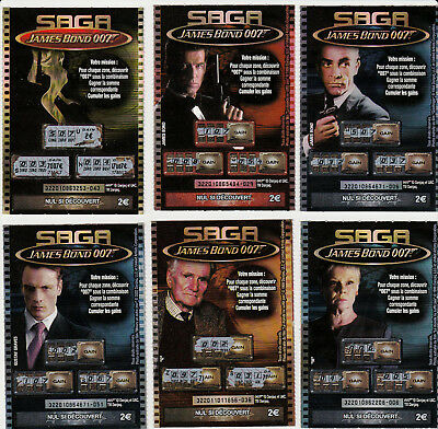 "LOT de 6 TICKETS  FDJ, ""SAGA James Bond 007"" Emission N° 1"