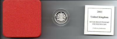 2003 SILVER PROOF PIEDFORT £1 COIN BOXED with COA D2