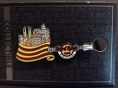 Hard Rock Cafe Barcelona Core Flag Over City Guitar Pin