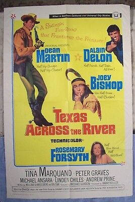 "1966~""TEXAS ACROSS THE RIVER""~ORIGINAL WESTERN MOVIE POSTER~41x27 w/DEAN MARTIN~"