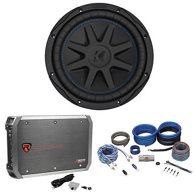 "Kicker 44CVX102 CVX Comp VX 10"" 600w RMS Car Subwoofer+Mono Amplifier+Amp Kit"