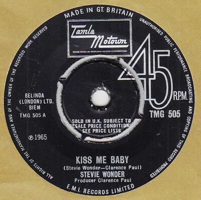 "60s Motown Soul STEVIE WONDER kiss me baby Rare 1965 UK 7"" Vinyl 45"