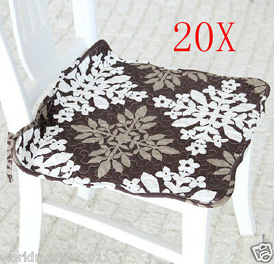 20X Pastoral Style Brown Flowery 42*42 CM Cotton Practical Chair Mats/Pads