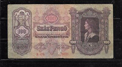 Hungary #98 1930 Good Very Used Vintage 100 Pengo Old Banknote Note Paper Money