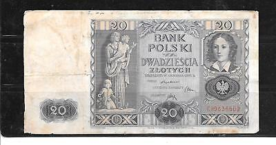 Poland Polish #95 1940 Vg Used 20 Zlotych Banknote Paper Money Currency Note