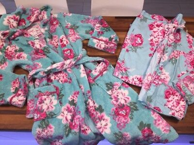 MONSOON Rose Print Flannel Pyjamas And Dressing Gown Age 9-10 GOOD CONDITION
