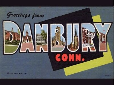 Large Letter Greetings from Danbury, CT, Vintage REPRO Postcard R883647