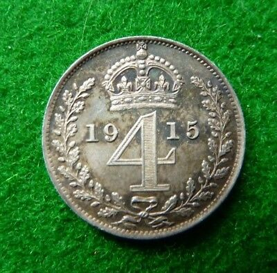 1915 George V Maundy Fourpence - Ef - Toned