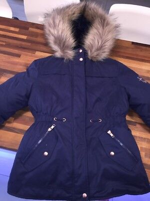 GEORGE Girls Current Range Two In One Navy Winter Parka Coat Age 8-9 WORN ONCE