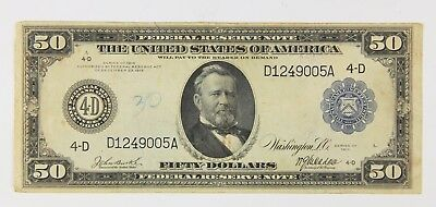 1914 $50 Large Federal Reserve Currency Note Cleveland Ohio Oh