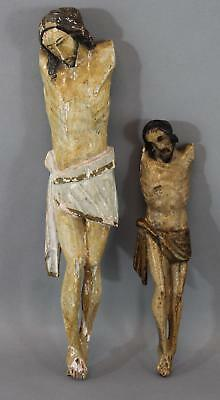 Antique 19thC Spanish Colonial Folk Art Carved & Painted Crucified Jesus Santos