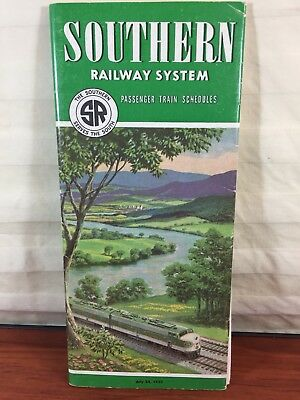Vintage Train Collectible 1955 Southern Railway System Railroad Times Tables