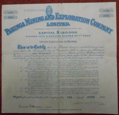 31414 AUSTRALIA 1934 Paringa Mining & Exploration 100 Option shares certificate