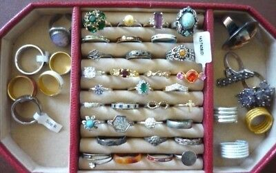 Job Lot of 44 x DRESS RINGS COSTUME JEWELLERY Some Vintage Some Silver