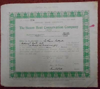 31416 GB 1936 Steam Heat Conservation 1250 shares certificate
