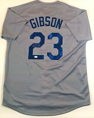 Kirk Gibson Signed Dodgers Custom Grey Jersey Jsa Witnessed