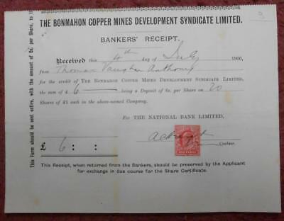 31417 GB -Ireland 1906 Bonmahon Copper Mines Development Syndicate Bankers' rcpt