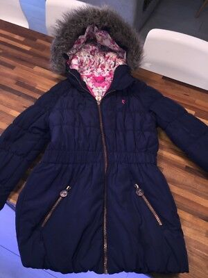 JOULES Girls Navy Winter Hooded Coat Age 8 EXCELLENT CONDITION