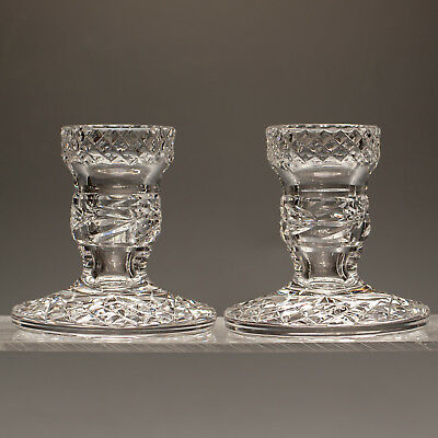 Waterford Crystal Pair Heavy Cut Crystal Candlesticks Made in Ireland