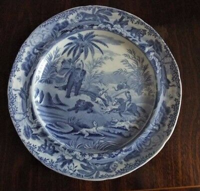 Antique Early 19Thc Spode Blue & White Plate From The Sporting Series  C1820