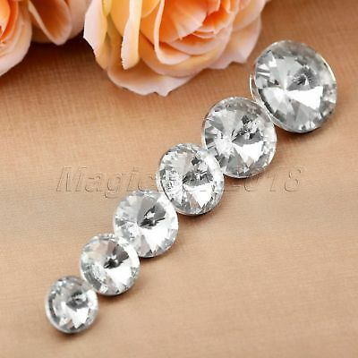 10pcs Diamond Bright Crystal Upholstery Sewing Buttons 6 Sizes Glass & Metal
