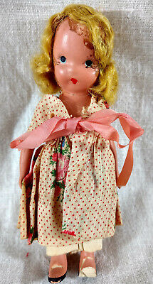 """Antique Nancy Ann Baby Doll 5"""" Story Book Composition Jointed Arms VTG"""