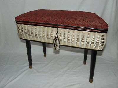 CLASSIC VINTAGE RETRO 1960's WOVEN SEWING BOX STOOL with UPHOLSTERED SEAT