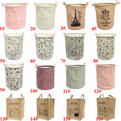 17 Types Folding Cotton Storage Box Laundry Hamper Clothes Collect Basket Barrel