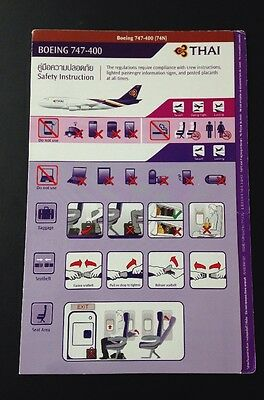 Thai Airways TG Boeing 747 400 B747-400 74N Safety Card Sicherheitskarte TOP