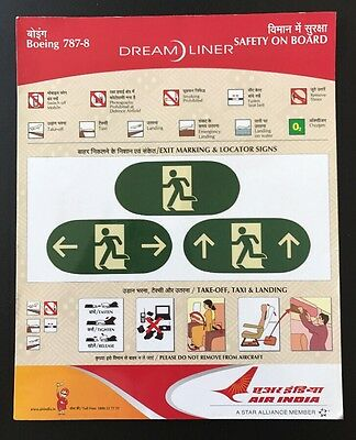 Air India Boeing 787 8 B787-8 Safety Card Sicherheitskarte