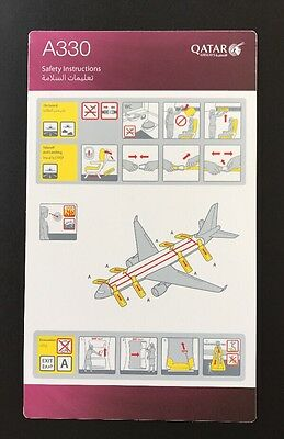 Qatar Airways Airbus A 330 A330 Version 3 Safety Card Sicherheitskarte Top NEW!