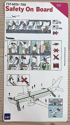 SAS Scandinavian Airlines Boeing B 737 - 600 / 700 Safety Card Sicherheitskarte