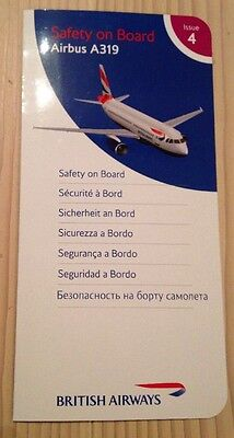 British Airways BA Airbus A 319 A319 Safety Card Sicherheitskarte Top!