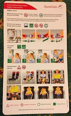 Austrian Airlines AUA Airbus 319 A319 Airline Safety Card Sicherheitskarte TOP!