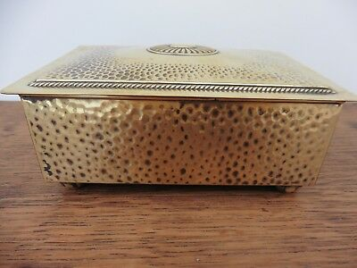 Super quality beautiful brass Arts & crafts style hand hammered cigarette box
