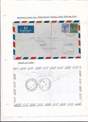 Malaya interesting KGVI cover written up on album page (#8645a)