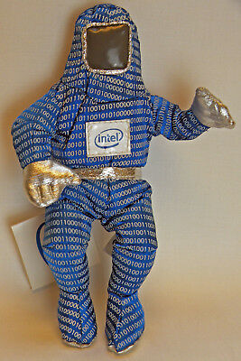 "Vintage Intel Computer Processor Blue Binary Bunny People 8"" Doll w/ Tag"